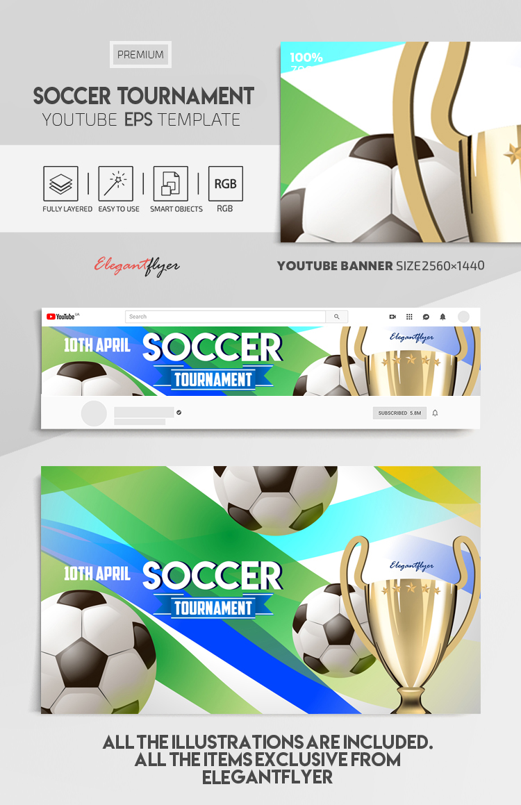 Soccer Tournament – Vector Youtube Channel banner EPS Template