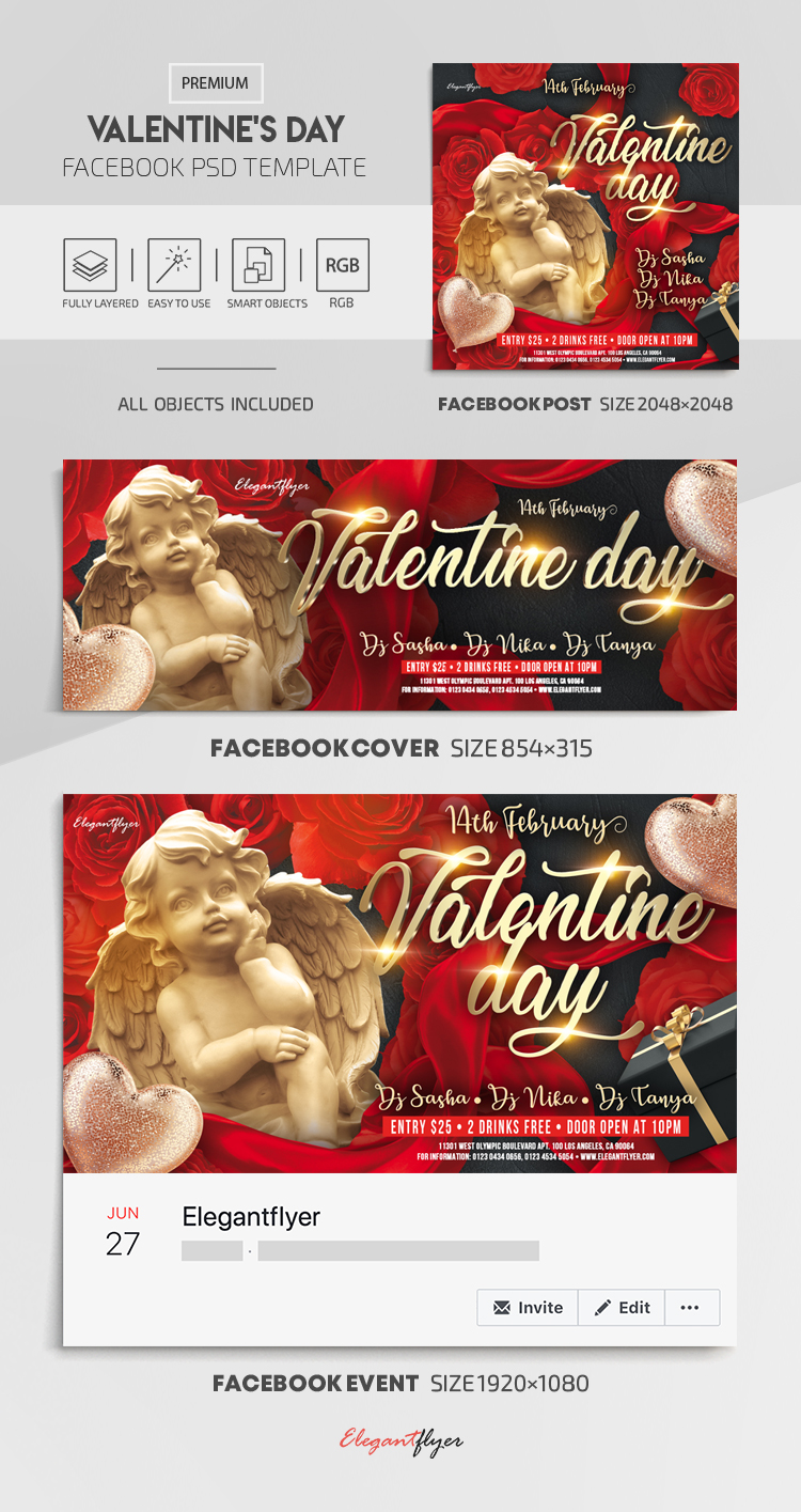 Valentine's Day – Facebook Cover Template in PSD + Post + Event cover