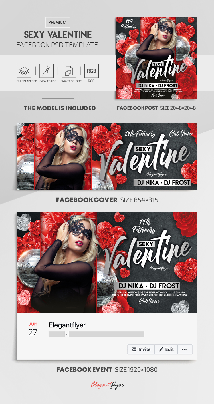 Sexy Valentine – Facebook Cover Template in PSD + Post + Event cover