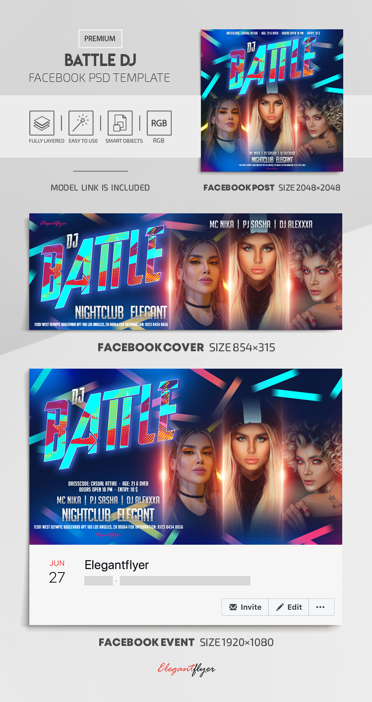 Battle DJ – Facebook Cover Template in PSD + Post + Event cover