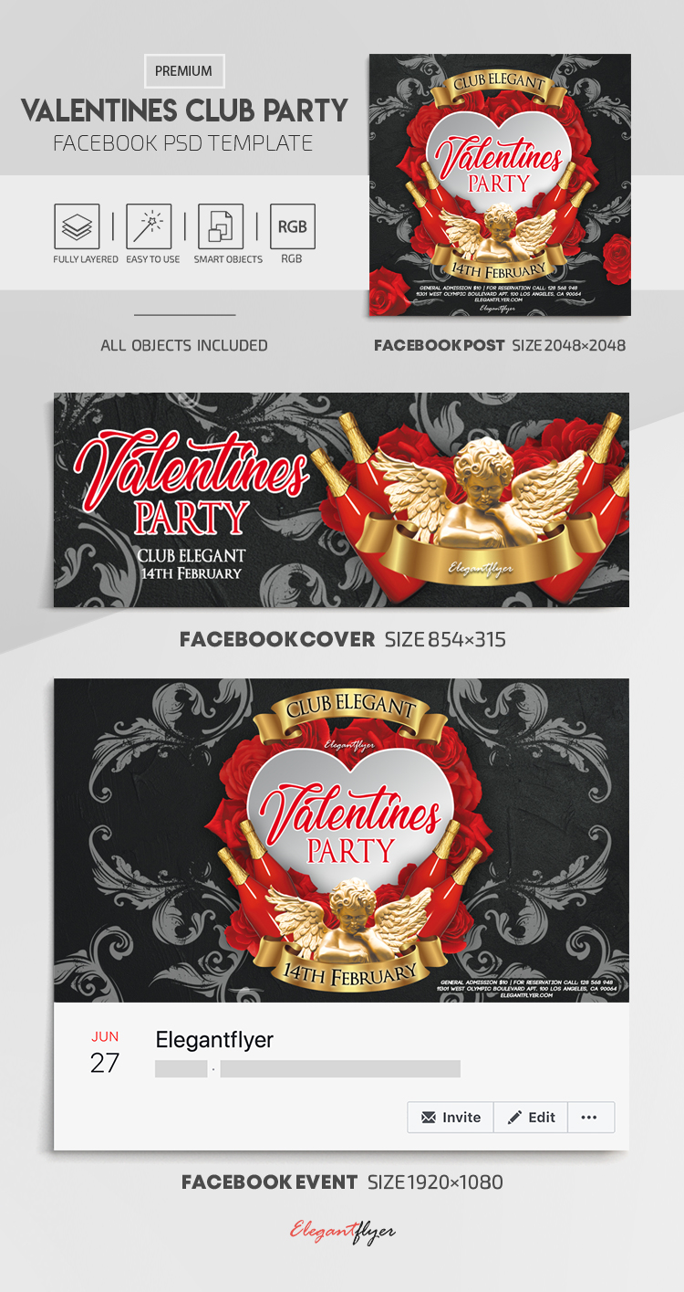 Valentines Club Party – Facebook Cover Template in PSD + Post + Event cover