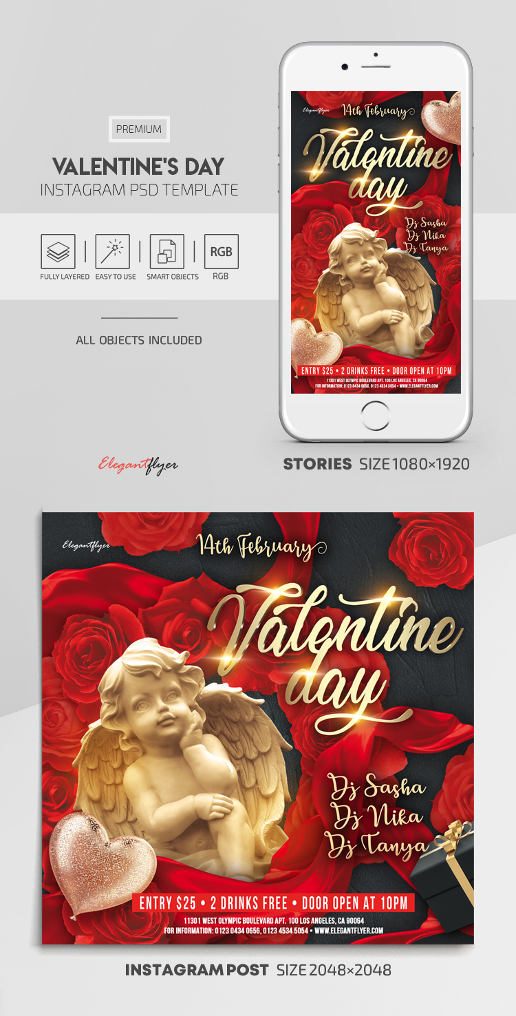 Valentine's Day – Instagram Stories Template in PSD + Post Templates