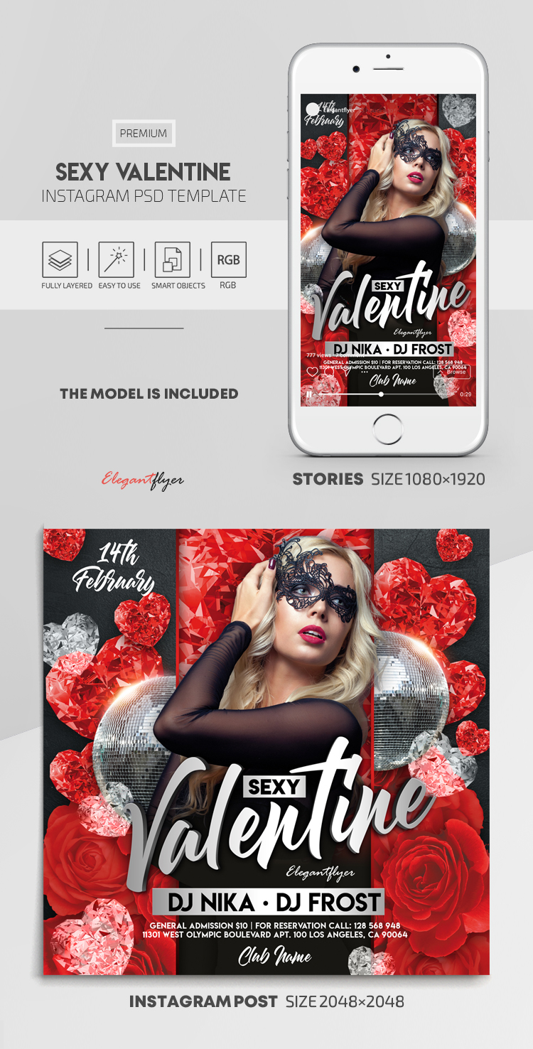 Sexy Valentine – Instagram Stories Template in PSD + Post Templates