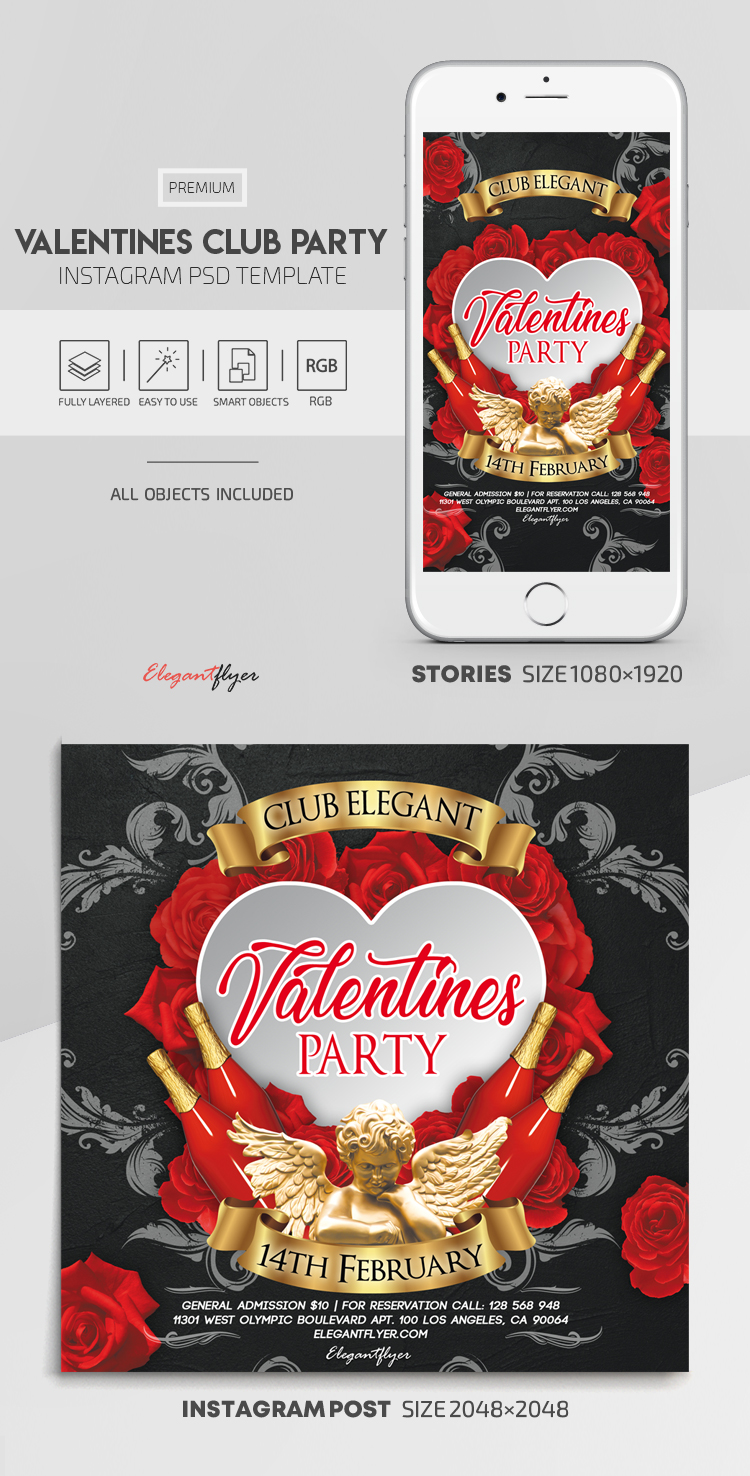 Valentines Club Party – Instagram Stories Template in PSD + Post Templates