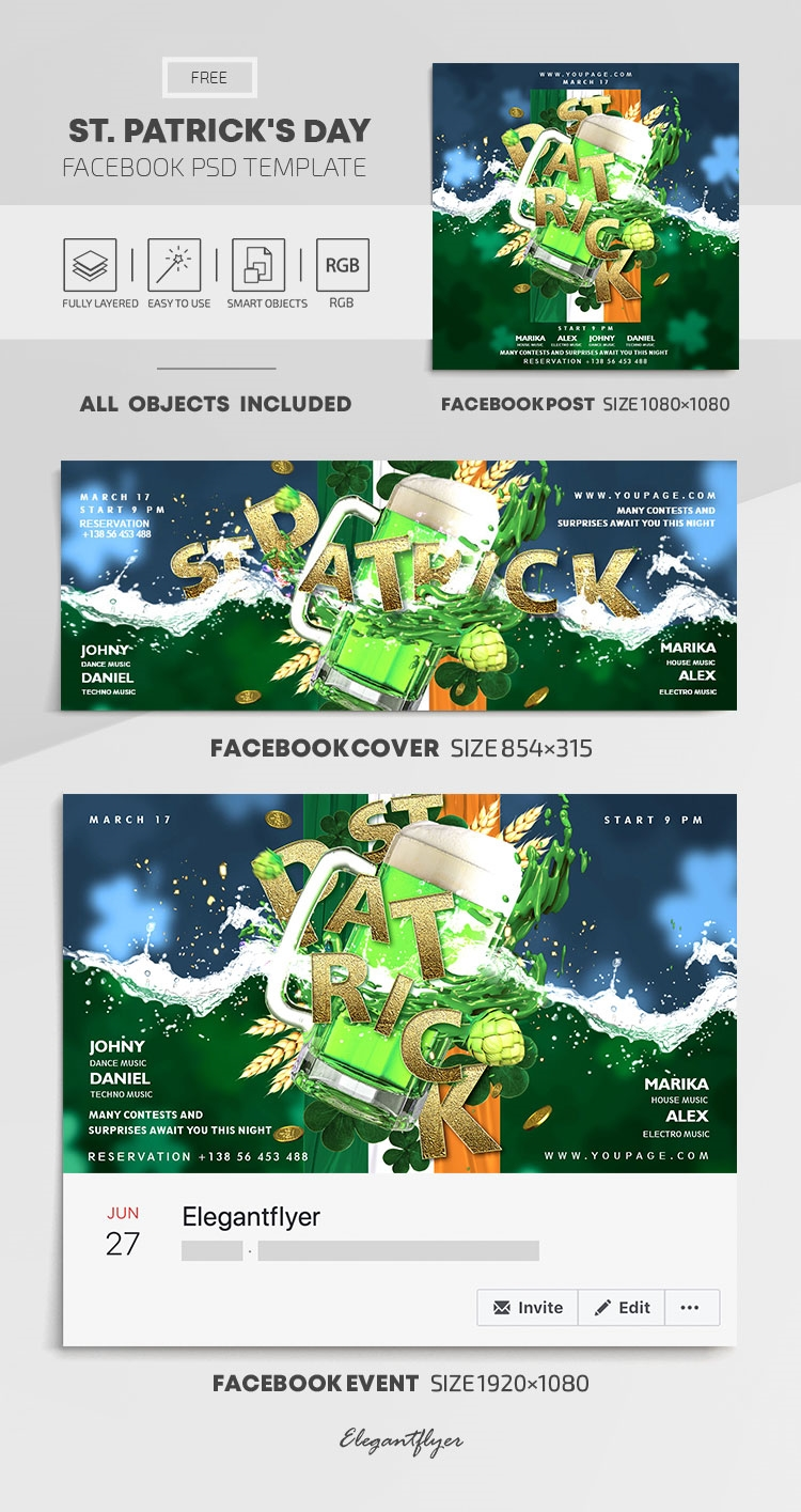 St. Patrick's Day – Free Facebook Cover Template in PSD + Post + Event cover