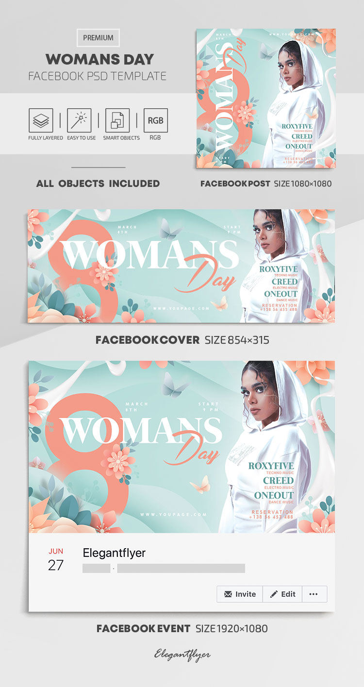 Womans Day – Facebook Cover Template in PSD + Post + Event cover