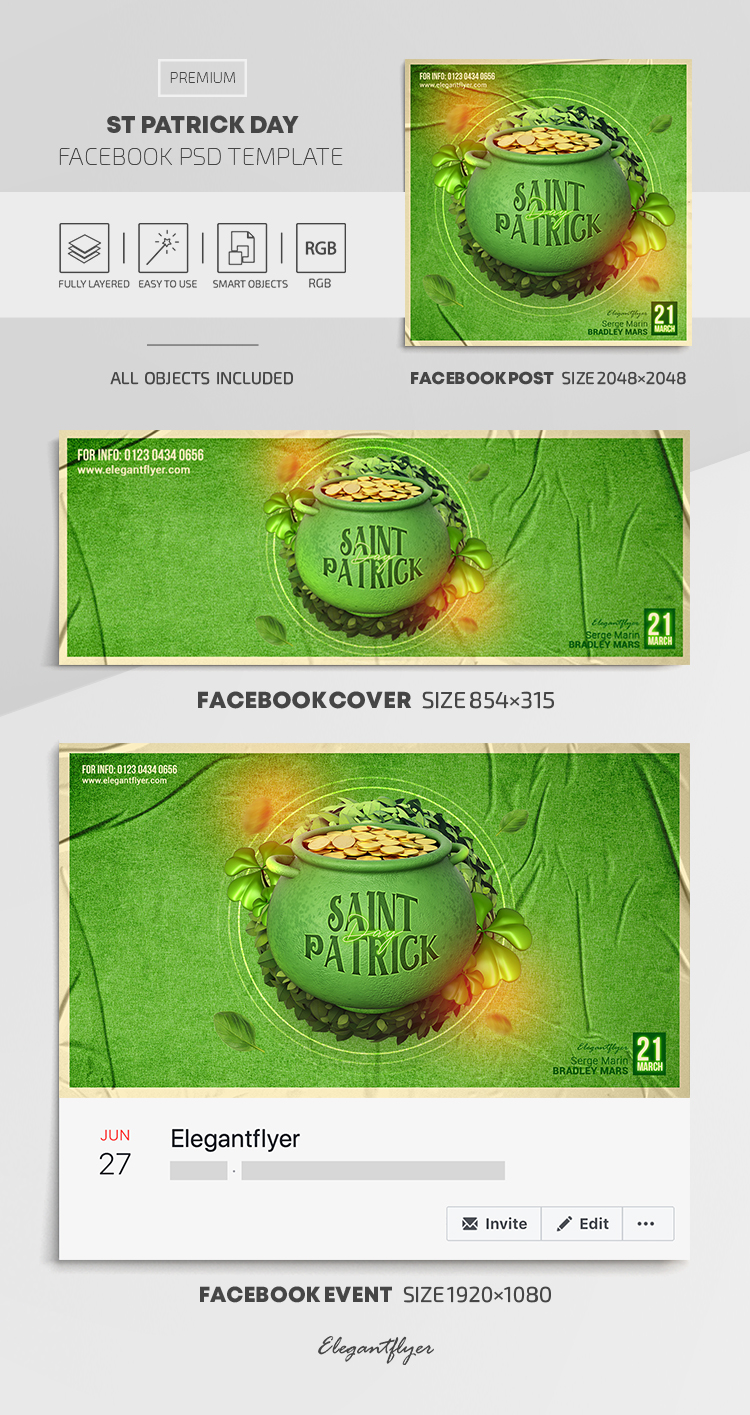 St Patrick Day – Facebook Cover Template in PSD + Post + Event cover