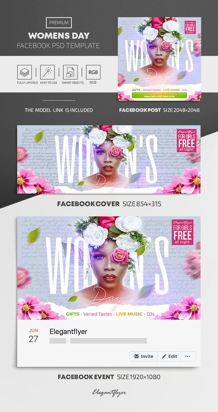 Womens Day – Facebook Cover Template in PSD + Post + Event cover