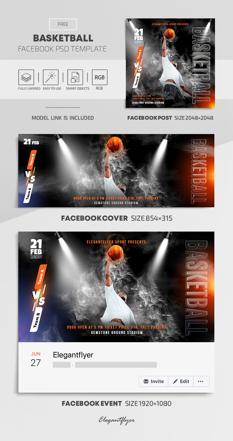 Basketball – Free Facebook Cover Template in PSD + Post + Event cover
