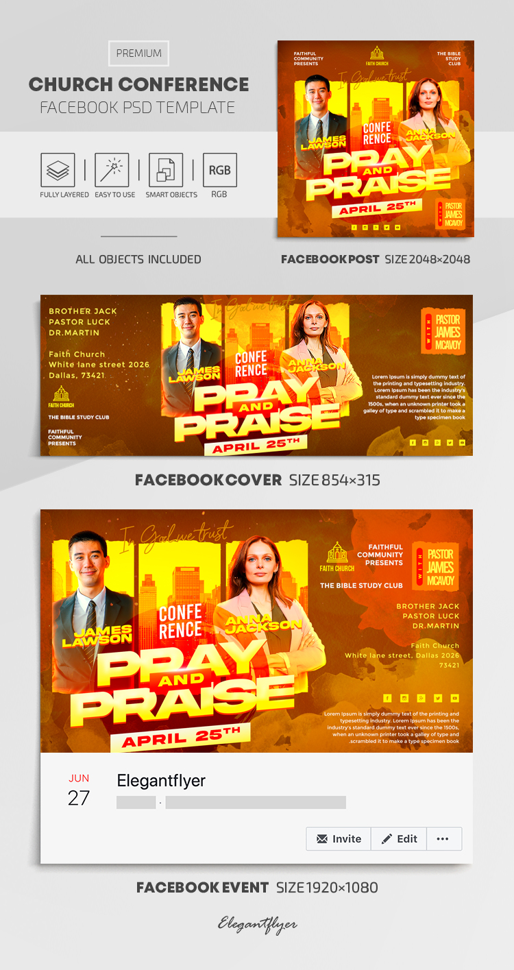 Church Conference – Facebook Cover Template in PSD + Post + Event cover
