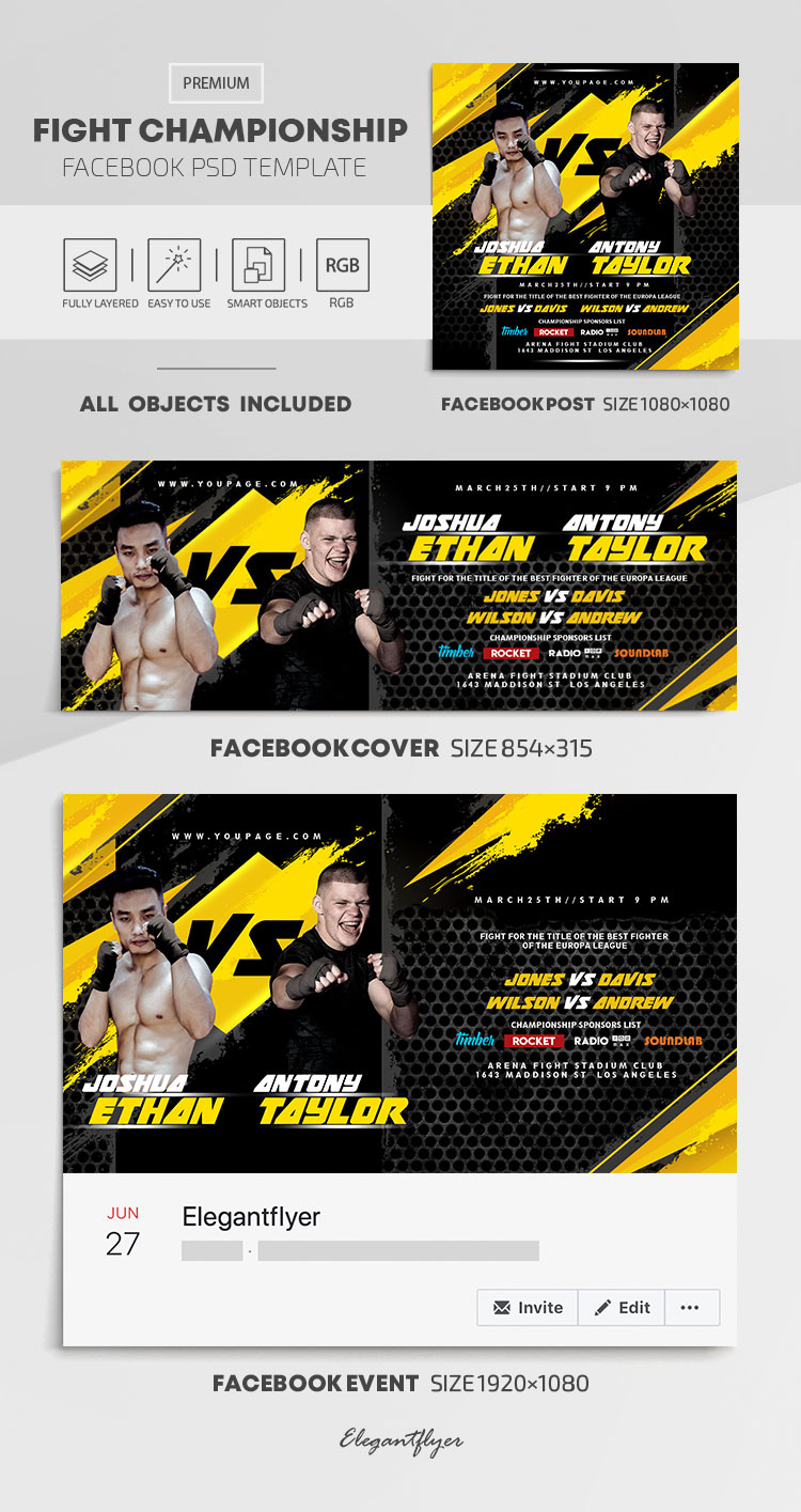 Fight Championship – Facebook Cover Template in PSD + Post + Event cover