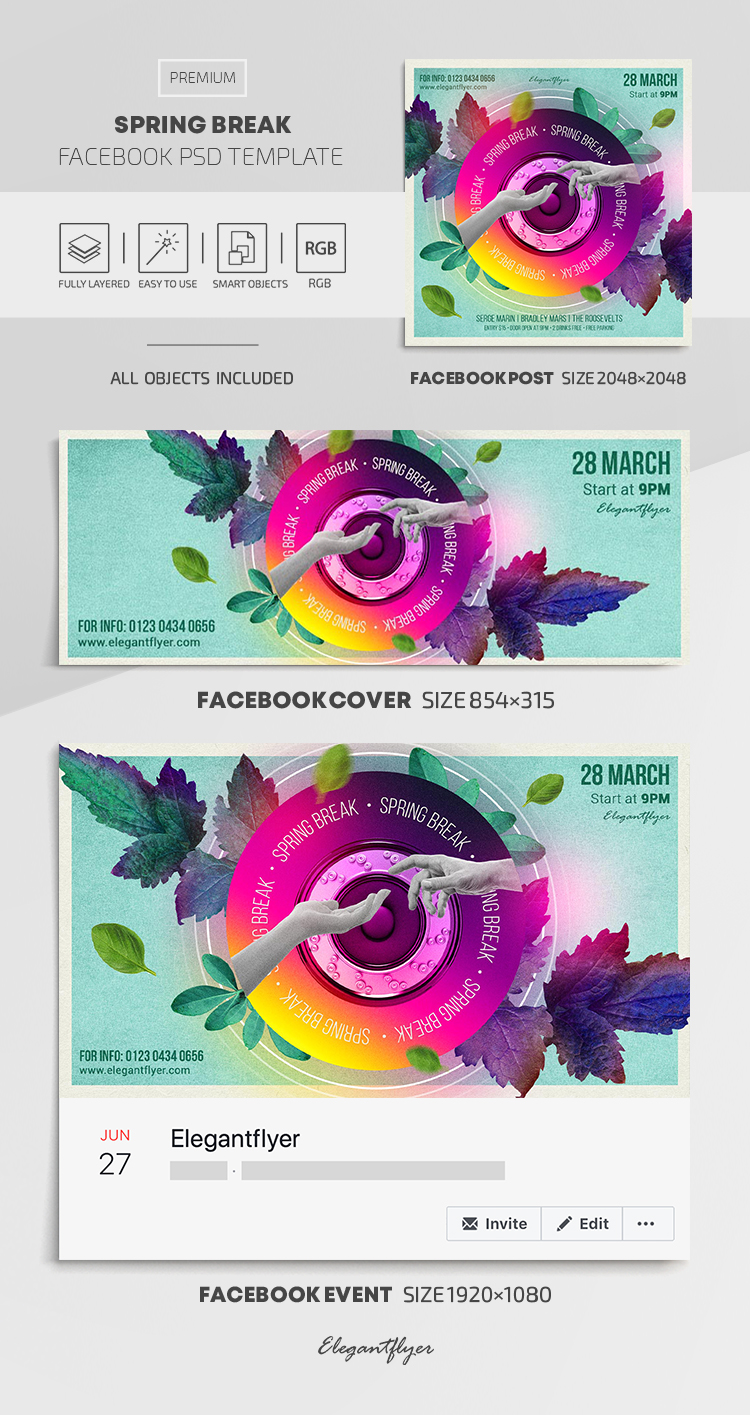 Spring Break – Facebook Cover Template in PSD + Post + Event cover