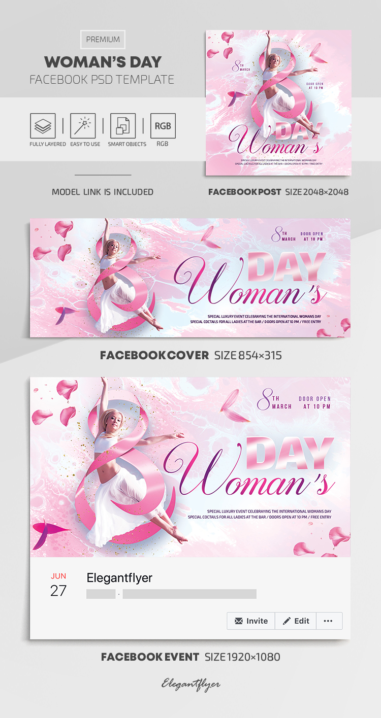 Woman's Day – Facebook Cover Template in PSD + Post + Event cover
