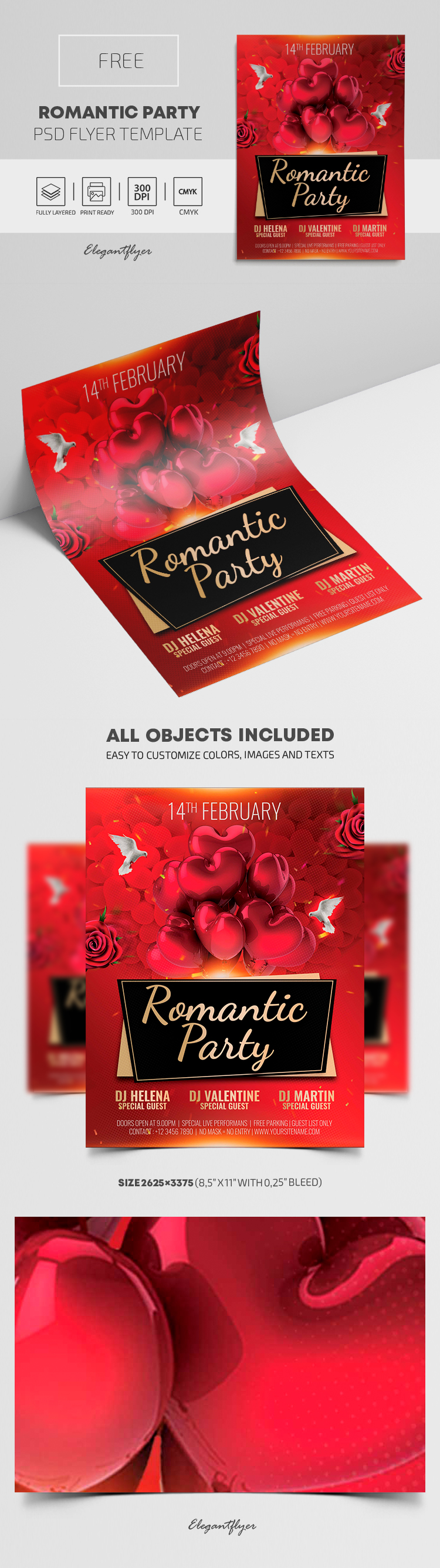Romantic Party – Free Flyer PSD Template