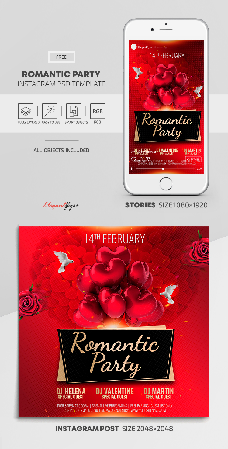 Romantic Party – Free Instagram Stories Template in PSD + Post Template