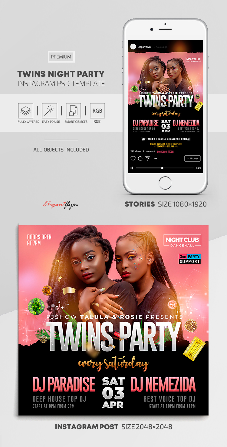 Twins Night Party – Instagram Stories Template in PSD + Post Templates