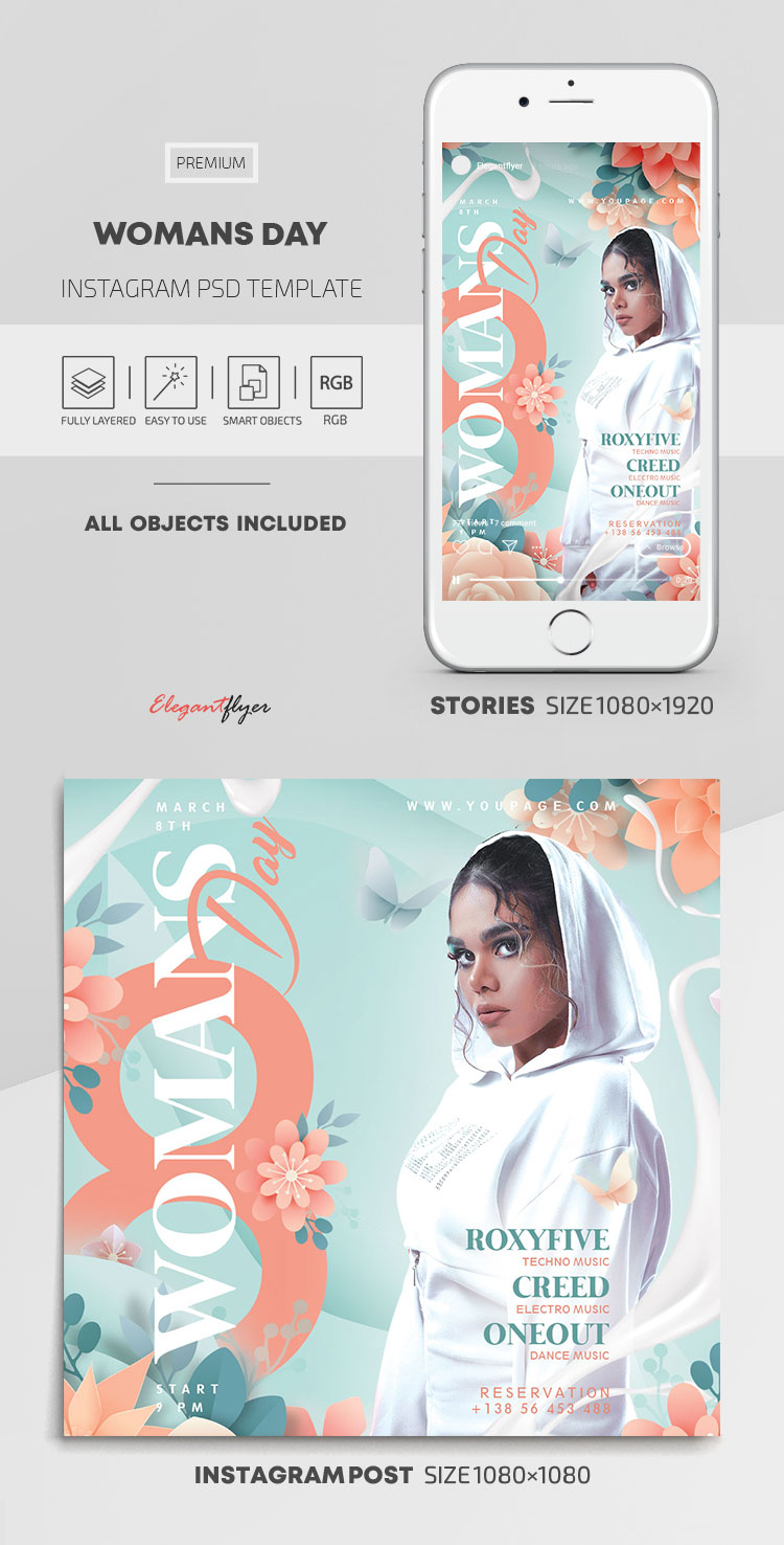 Womans Day – Instagram Stories Template in PSD + Post Templates
