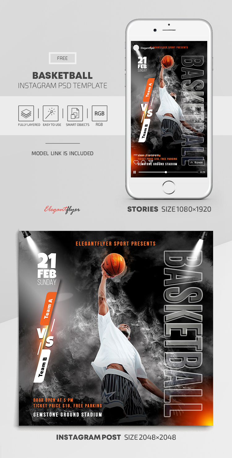 Basketball – Free Instagram Stories Template in PSD + Post Template