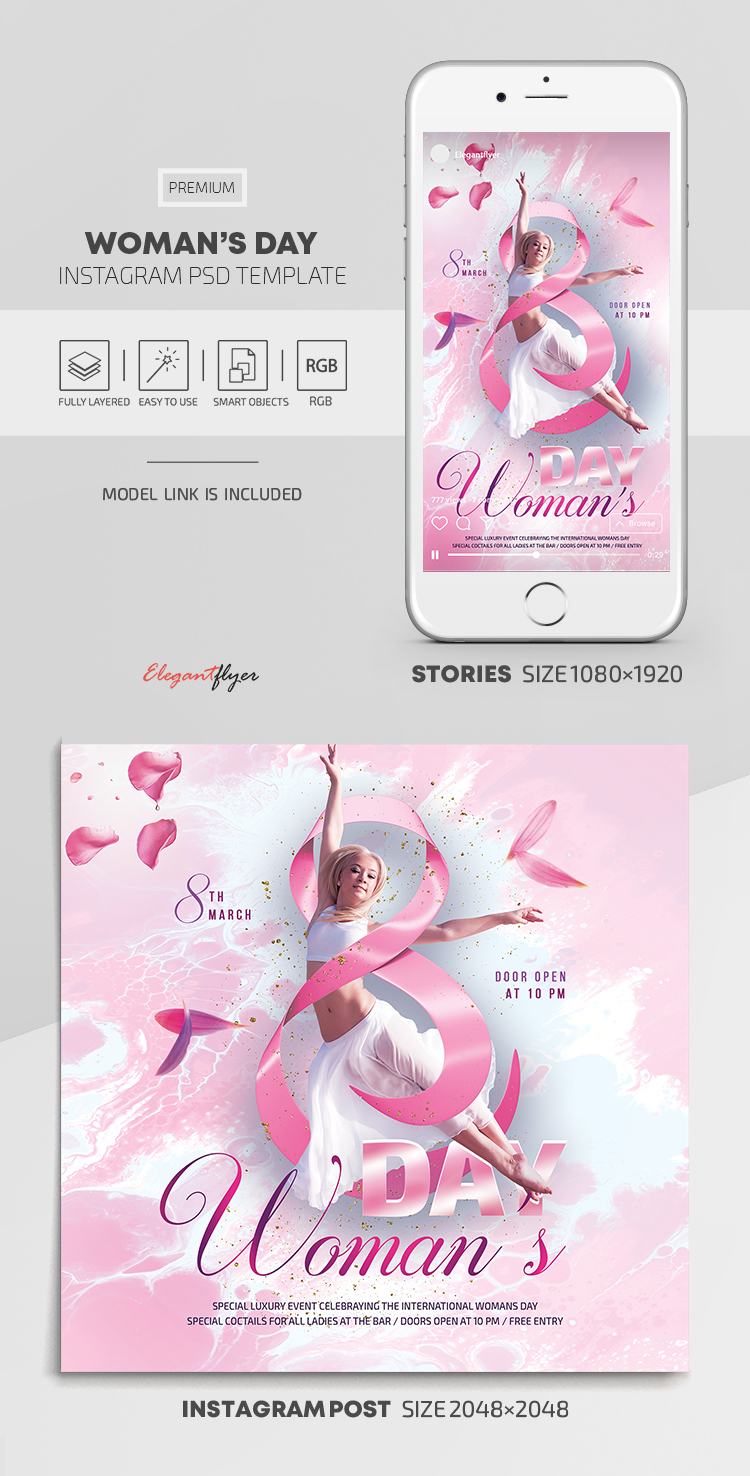 Woman's Day – Instagram Stories Template in PSD + Post Templates