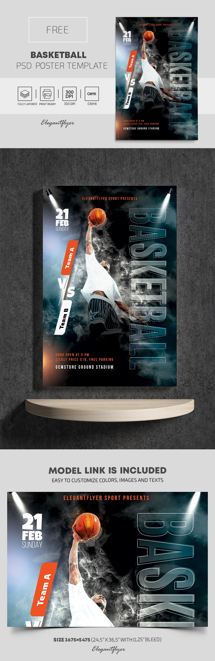 Basketball – Free PSD Poster Template