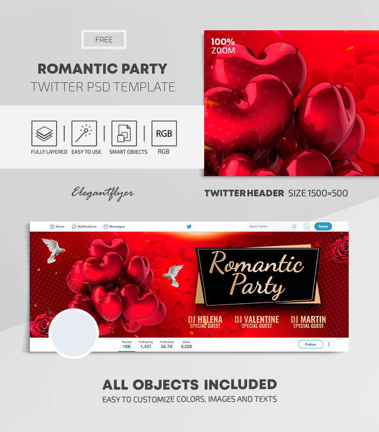 Romantic Party – Free Twitter Header PSD Template