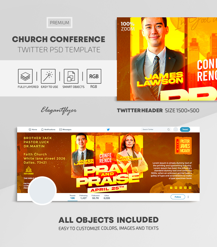 Church Conference – Twitter Header PSD Template