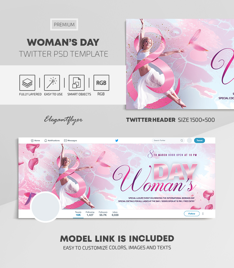 Woman's Day – Twitter Header PSD Template