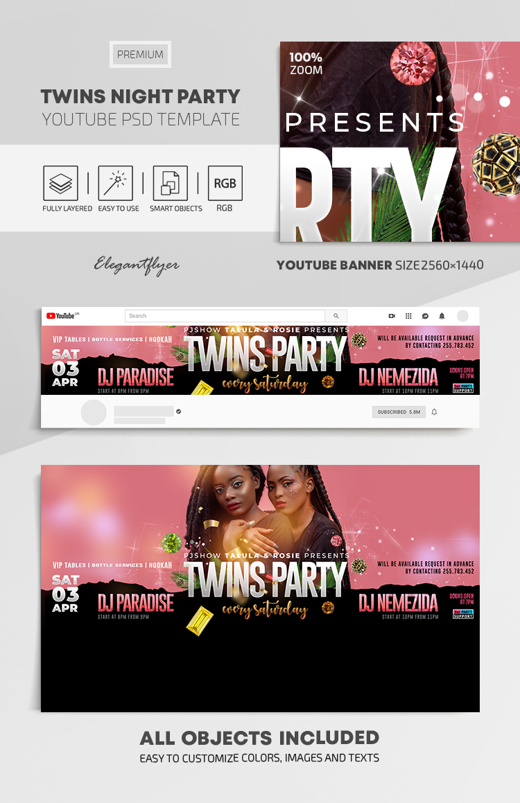 Twins Night Party – Youtube Channel banner PSD Template