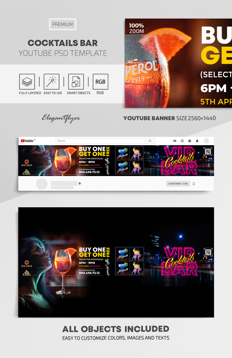 Cocktails Bar – Youtube Channel banner PSD Template