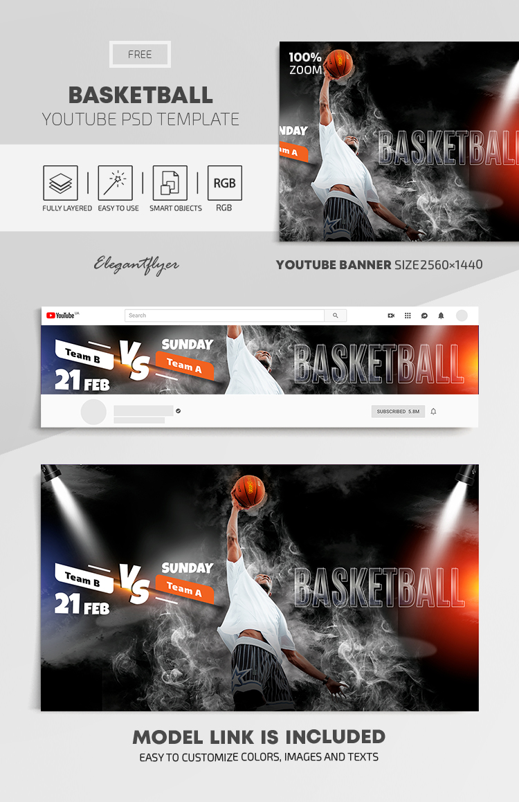 Basketball – Free Youtube Channel banner PSD Template