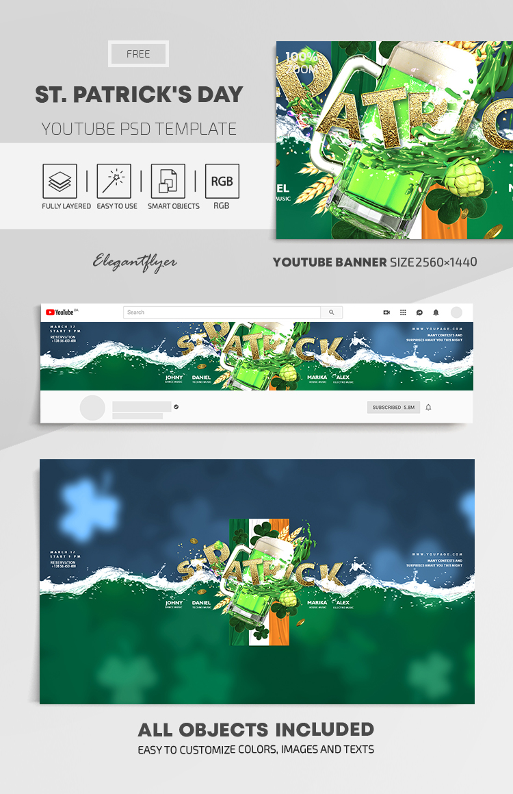 St. Patrick's Day – Free Youtube Channel banner PSD Template