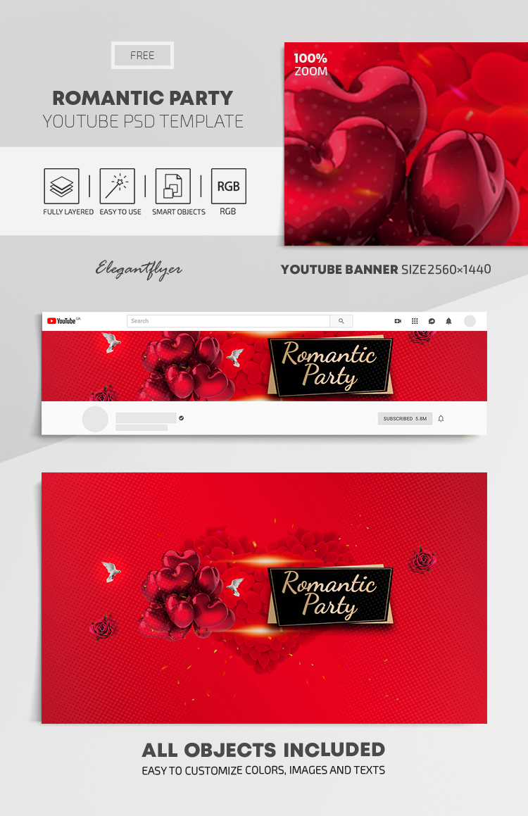 Romantic Party – Free Youtube Channel banner PSD Template