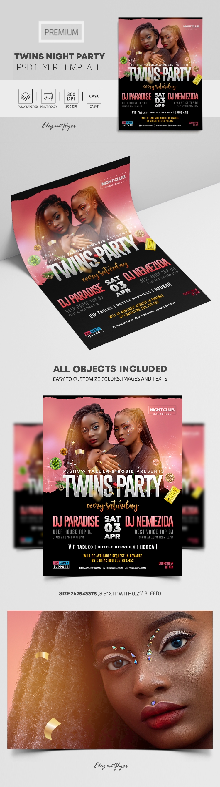 Twins Night Party – Premium PSD Flyer Template