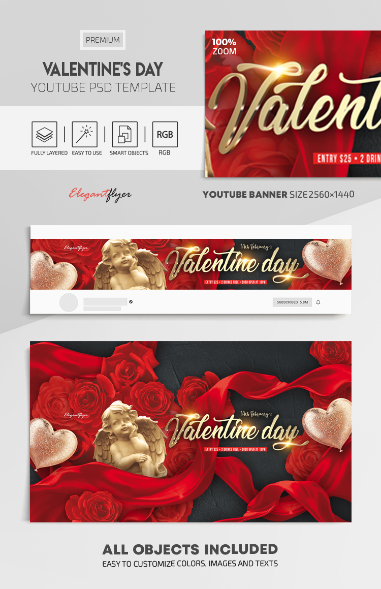 Valentine's Day – Youtube Channel banner PSD Template