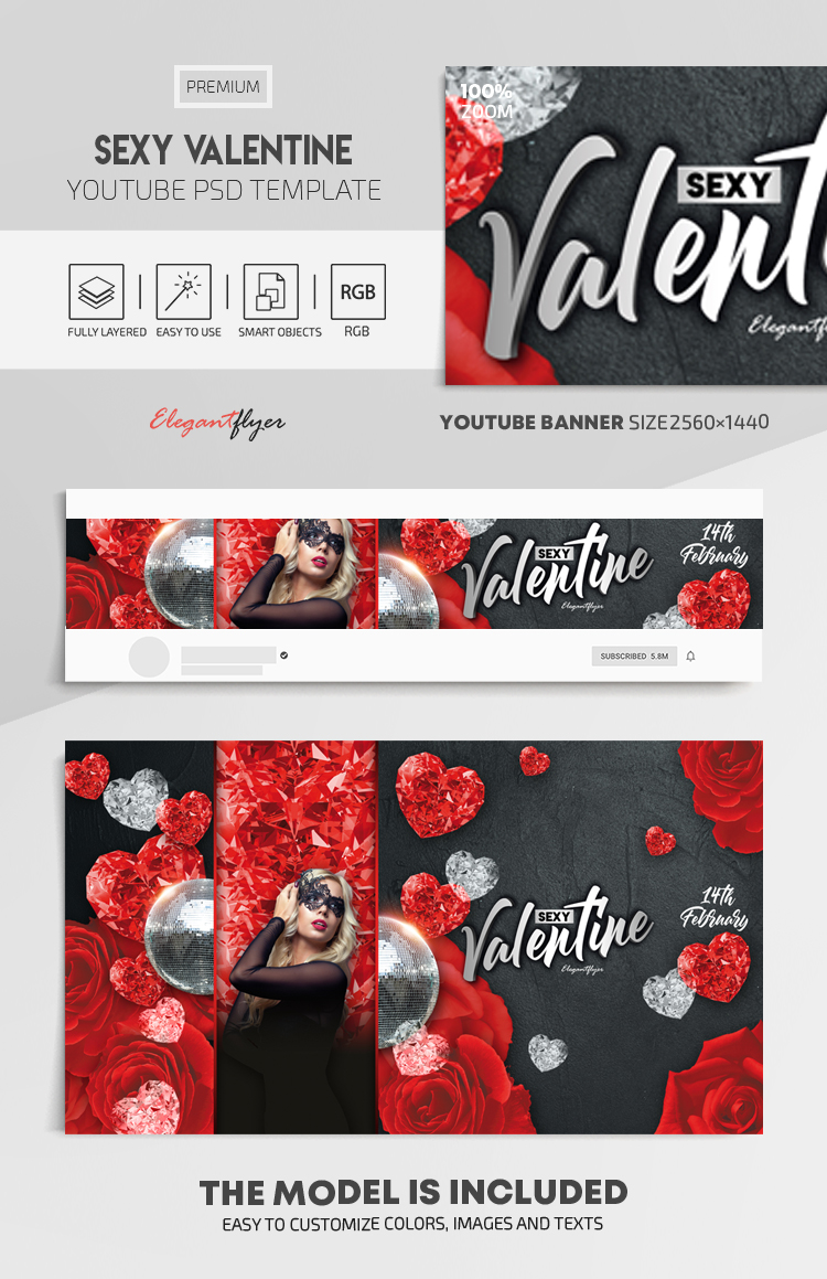 Sexy Valentine – Youtube Channel banner PSD Template