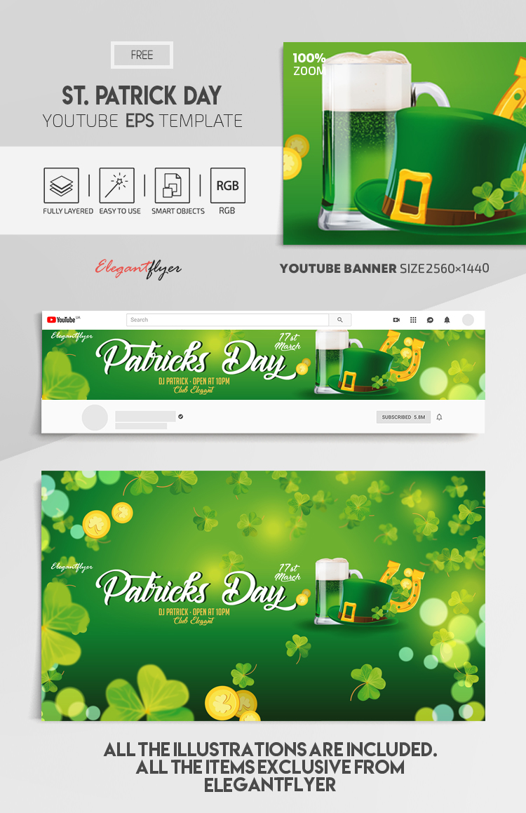 St Patrick Day – Free Vector Youtube Channel banner EPS Template