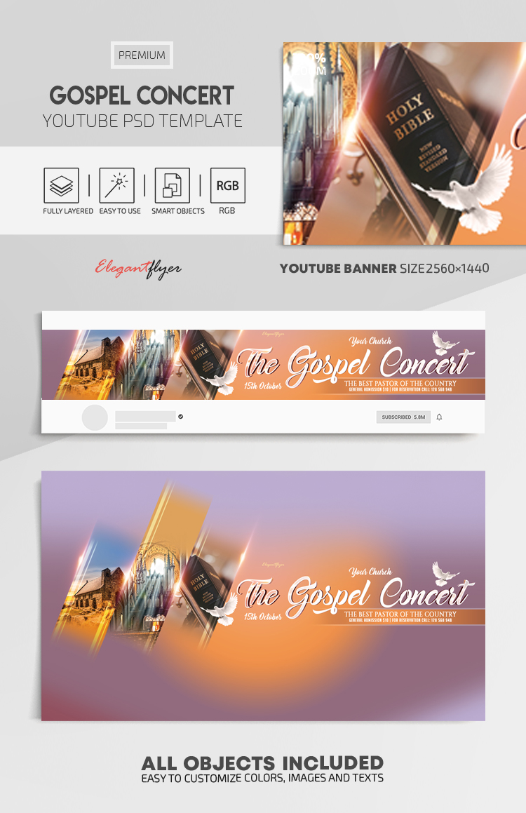 Gospel Concert – Youtube Channel banner PSD Template