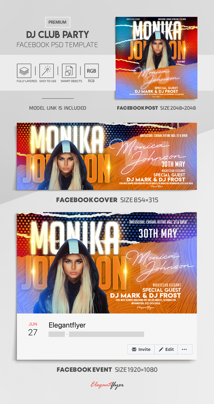 DJ Club Party – Facebook Cover Template in PSD + Post + Event cover