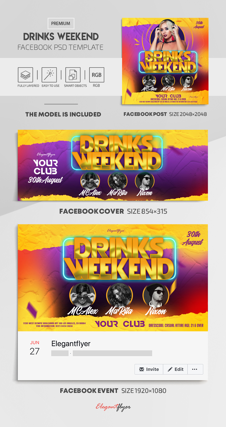 Drinks Weekend – Facebook Cover Template in PSD + Post + Event cover
