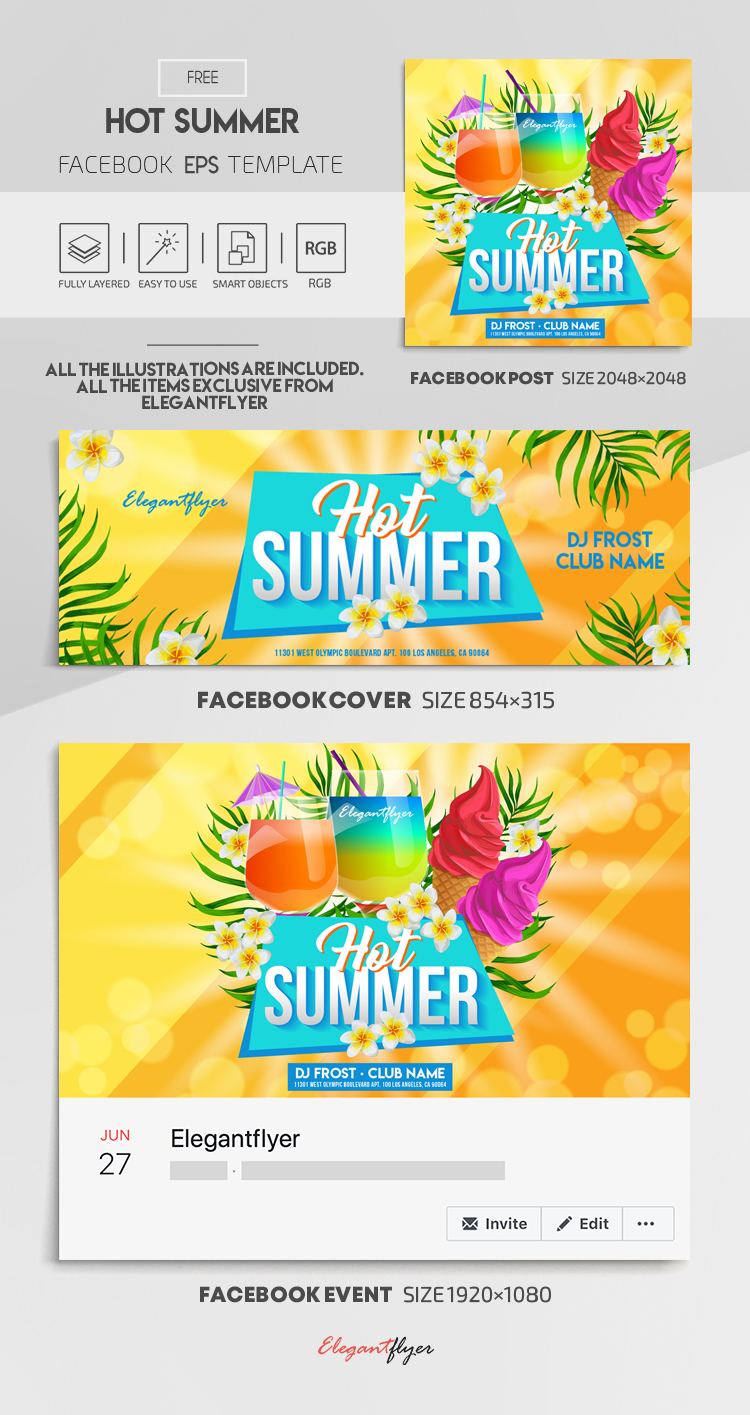 Hot Summer – Free Vector Facebook Cover Template in EPS + Post + Event cover