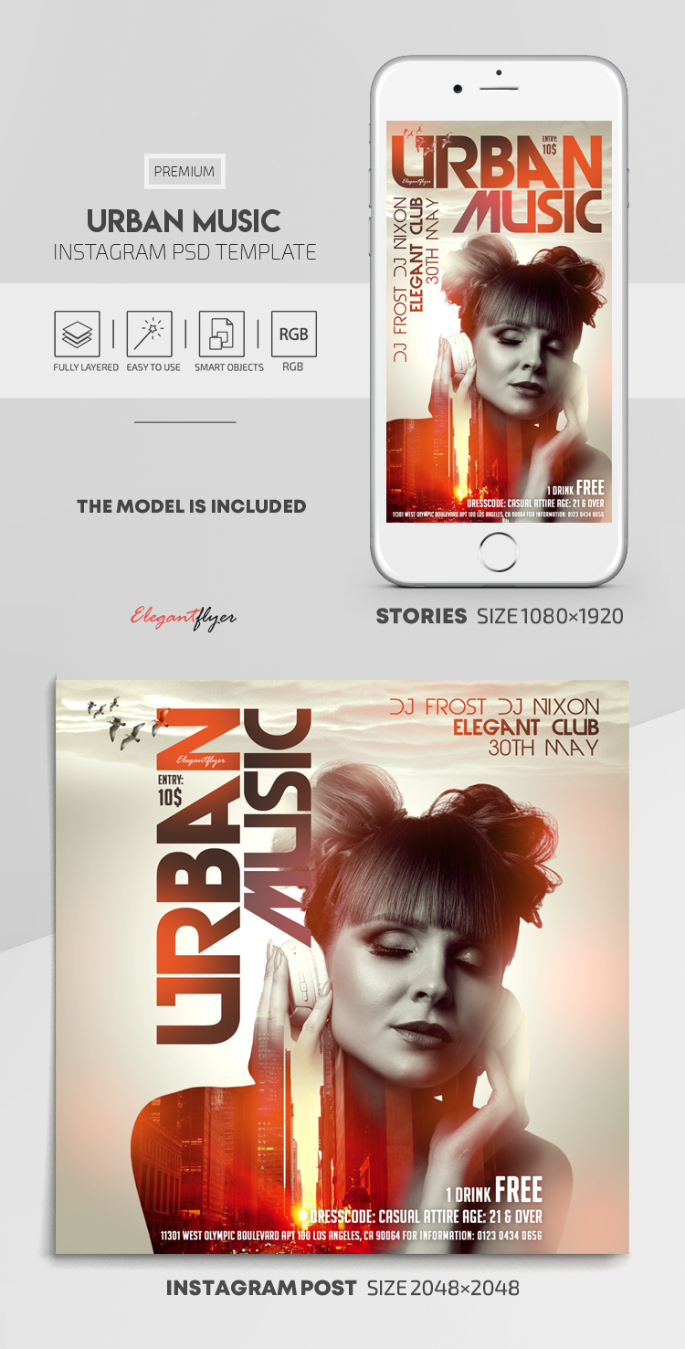 Urban Music – Instagram Stories Template in PSD + Post Templates