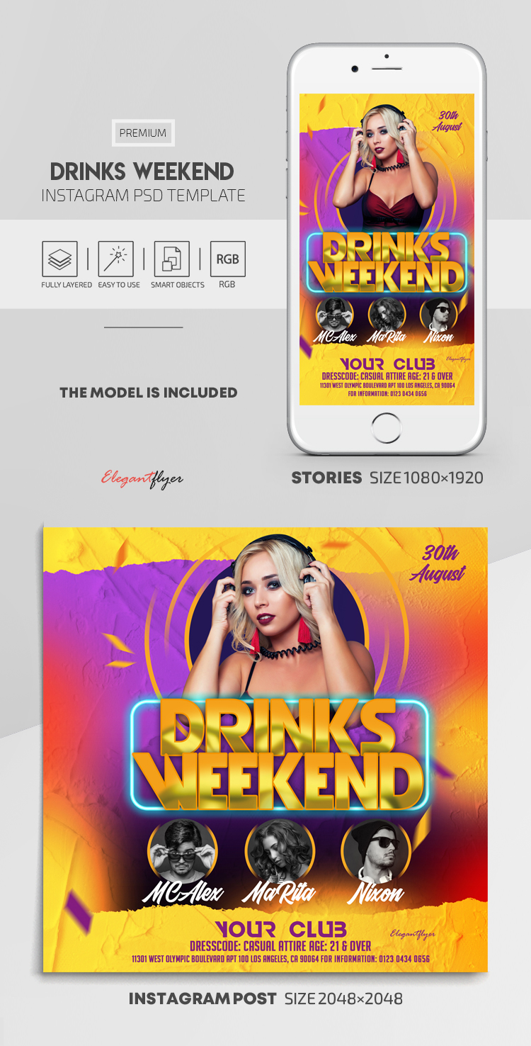 Drinks Weekend – Instagram Stories Template in PSD + Post Templates
