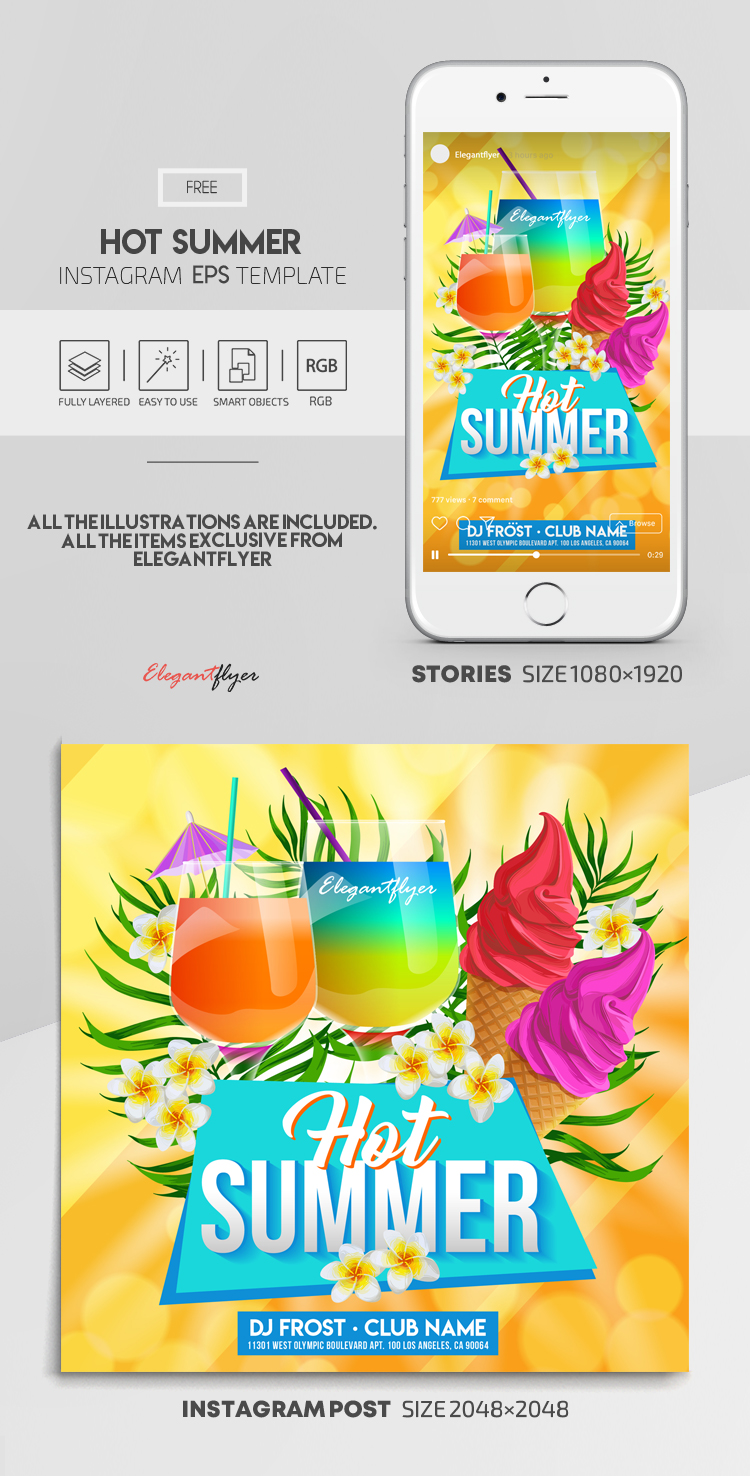 Hot Summer – Free Vector Instagram Stories Template in EPS + Post Templates