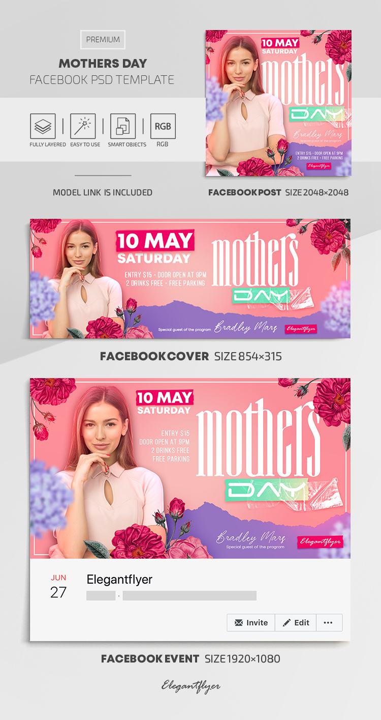 Mothers Day – Facebook Cover Template in PSD + Post + Event cover