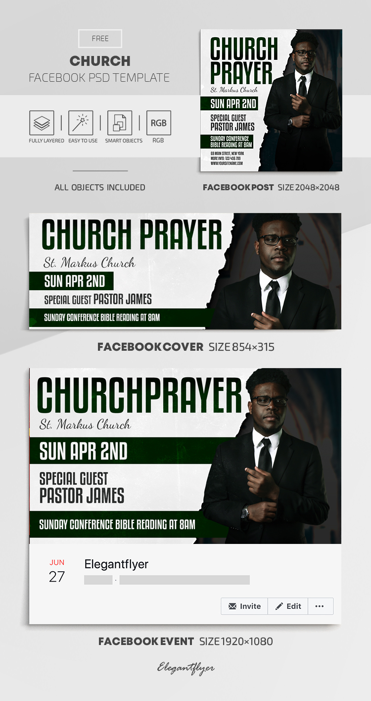 Church – Free Facebook Cover Template in PSD + Post + Event cover