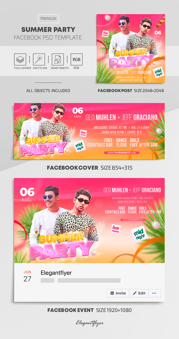 Summer Party – Facebook Cover Template in PSD + Post + Event cover