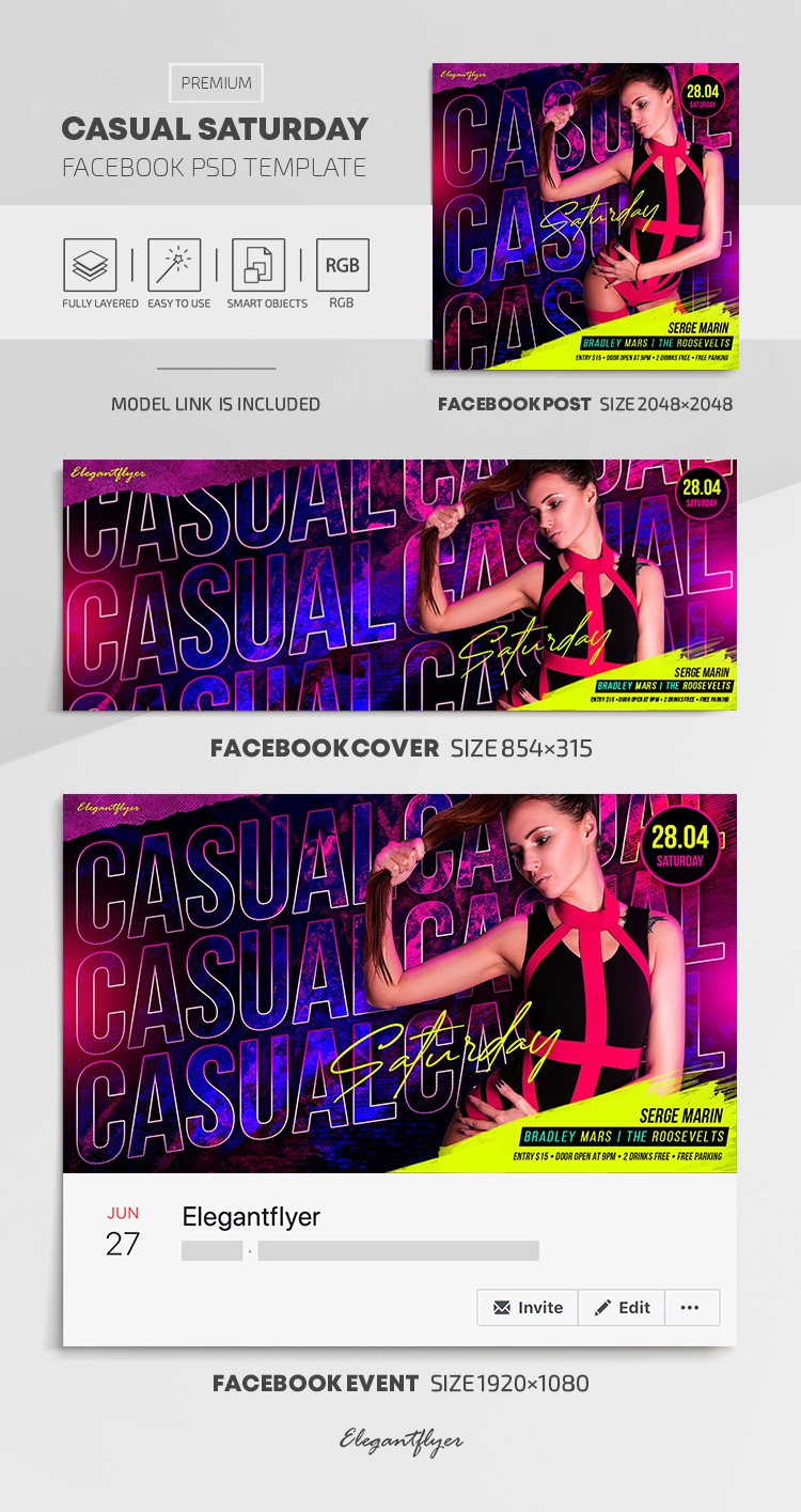 Casual Saturday – Facebook Cover Template in PSD + Post + Event cover