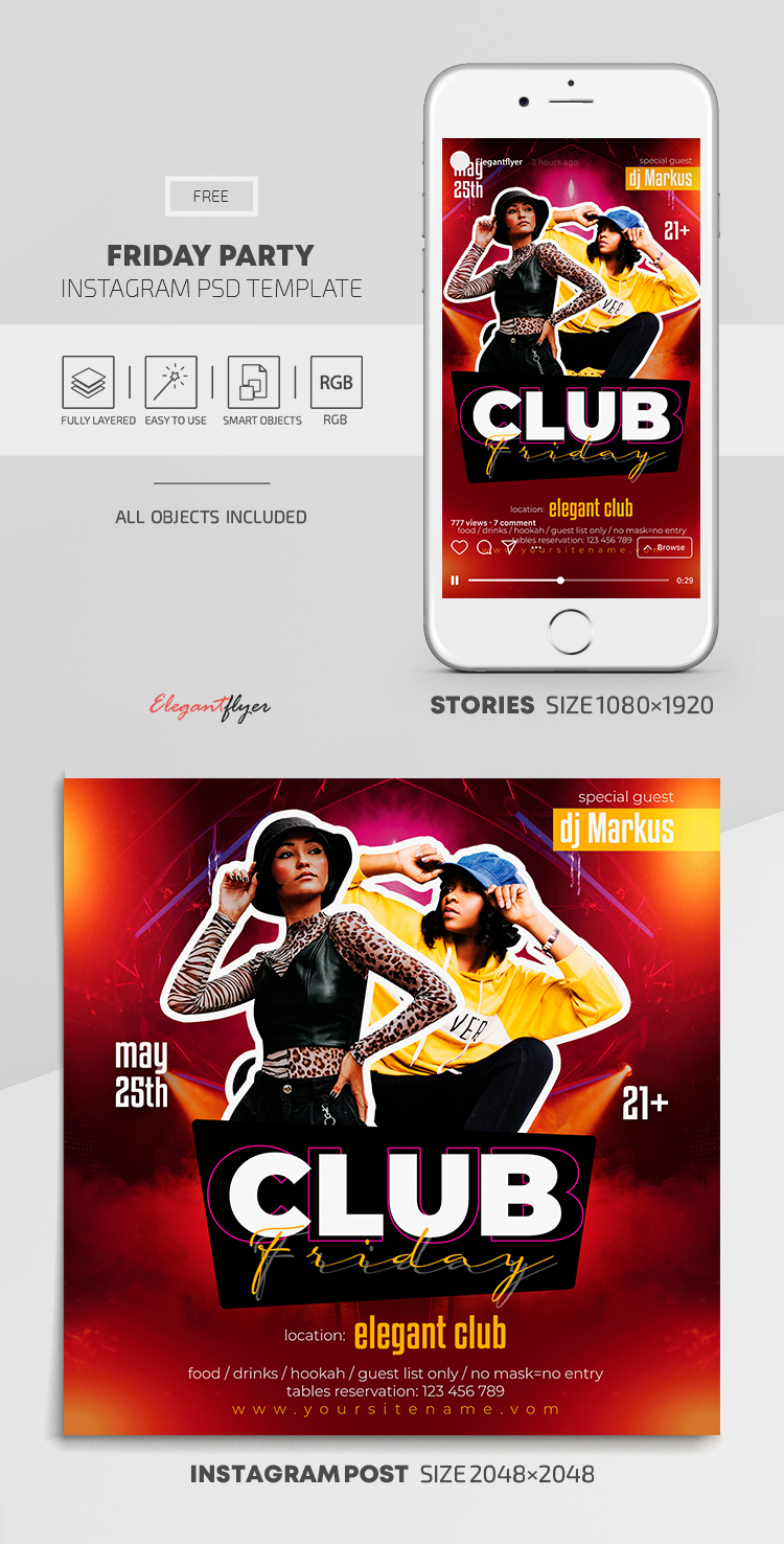 Friday Party – Free Instagram Stories Template in PSD + Post Template