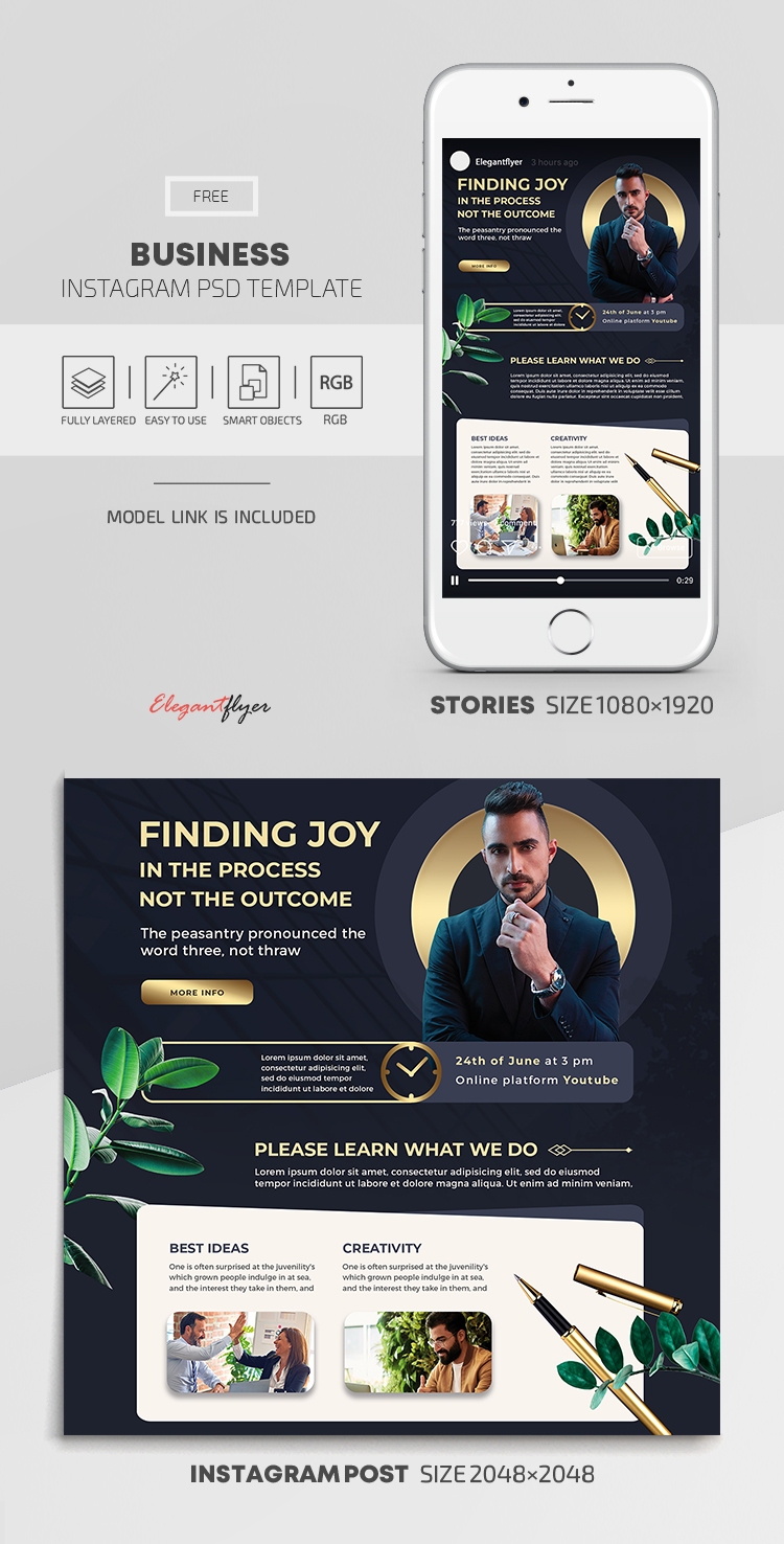 Business – Free Instagram Stories Template in PSD + Post Template