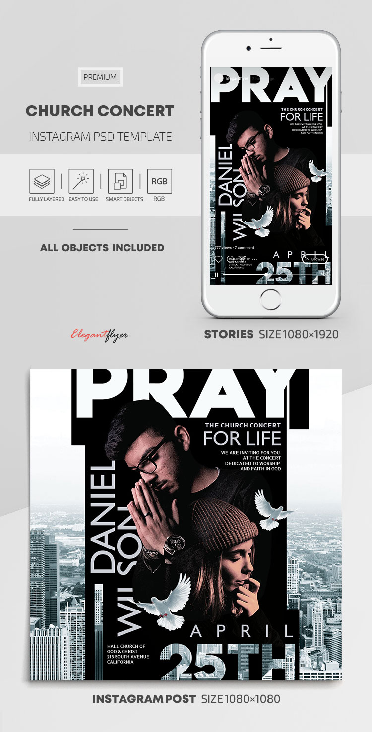 Church Concert – Instagram Stories Template in PSD + Post Templates